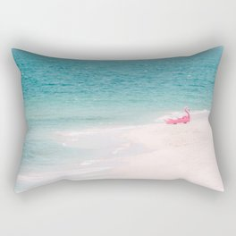 Pink Flamingo Beach Rectangular Pillow