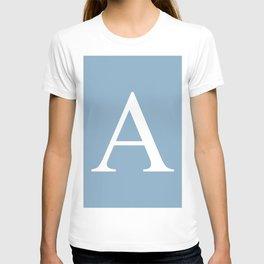 Letter A sign on placid blue color background T-shirt