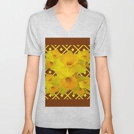 Coffee Brown Pattern of Golden Daffodils Art Unisex V-Neck