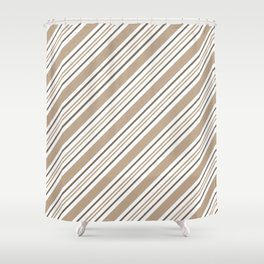 Pantone Hazelnut Nutmeg and White Thick and Thin Angled Lines - Stripes Shower Curtain