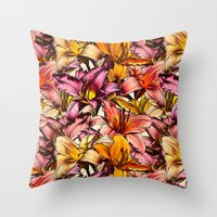 bedding Throw Pillows featuring Daylily Drama - a floral illustration pattern by micklyn