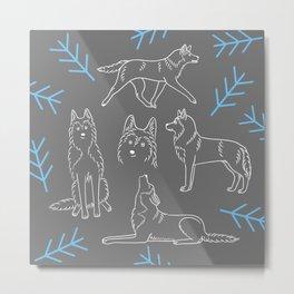 Siberian Husky Pattern Metal Print