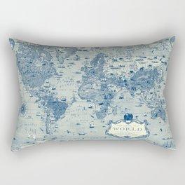 Blue Mercator Map Rectangular Pillow