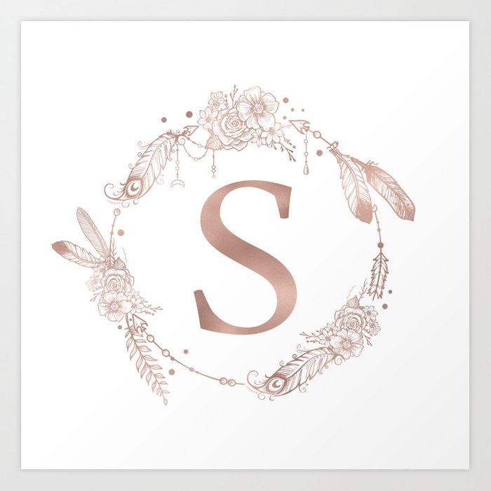 Letter s rose gold pink initial monogram art print by