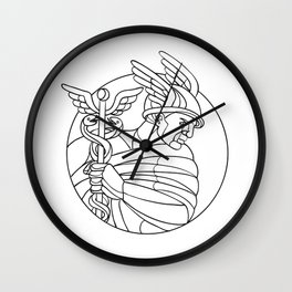 Messenger of the Gods Mosaic Black and White Wall Clock