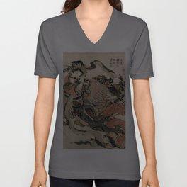 Hokusai, Aspara and the flute – musician manga, japan,hokusai,japanese,北斎,ミュージシャン Unisex V-Ausschnitt