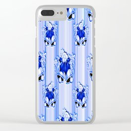 Blue Christmas Pattern Clear iPhone Case