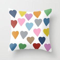 Hearts Colour Throw Pillow