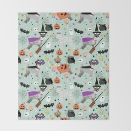 Schnauzer dog breed halloween costumes cute dog gift for fall autumn Throw Blanket