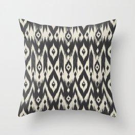 Black & Cream Tribal Ikat Throw Pillow