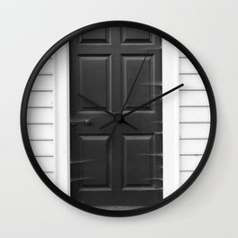 Door with Cobwebs in Black and White Wall Clock