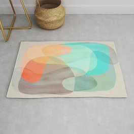 Shapes and Layers no.29 - Blue, Orange, Gray, abstract painting Rug