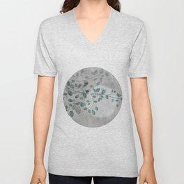 Pale moon mixed media illustration Unisex V-Neck