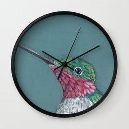 Ruby Throated Hummingbird Portrait Wall Clock