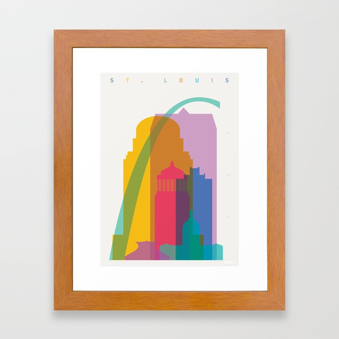 Shapes of St. Louis. Accurate to scale Framed Art Print