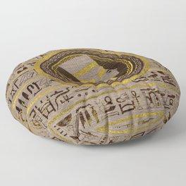 Pyrographed Golden Nefertiti on wood Floor Pillow
