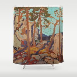 Tom Thomson - Pine Cleft Rocks - Canada, Canadian Oil Painting - Group of Seven Shower Curtain