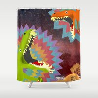 dinosaurs Shower Curtains featuring DINOSAURS by Cody Weber
