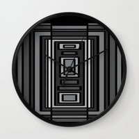 gray pattern Wall Clocks featuring Gray by Emma Michels