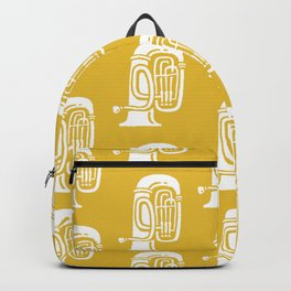 Tuba Pattern Mustard Yellow Backpack