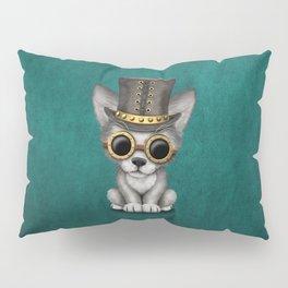 Steampunk Baby Wolf Cub on Blue Pillow Sham