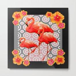 Black-Pink Art Deco Flamingo's Hibiscus Floral Art Metal Print