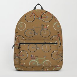 Holiday Bicycles on brown paper Backpack