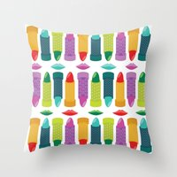 lipstick Throw Pillows featuring Lipstick by Piper Burke