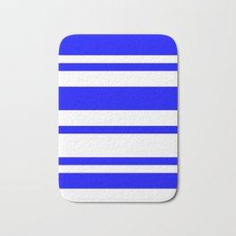 Mixed Horizontal Stripes - White and Blue Bath Mat