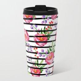 Modern black stripes pink lavender watercolor floral Travel Mug