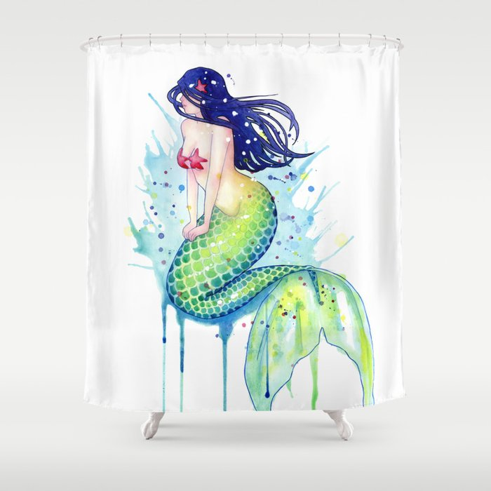 Mermaid Splash Shower Curtain