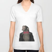 monkey V-neck T-shirts featuring Monkey by Made By Mary