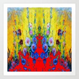 BLUE HOLLYHOCKS YELLOW & RED GARDEN MODERN ART Art Print