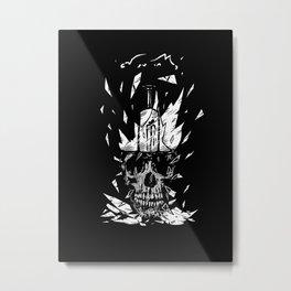 Broken Bulb Skull Metal Print