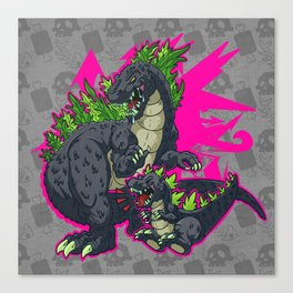 Kaiju Senior Kaiju Junior Canvas Print
