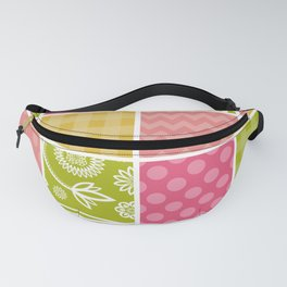 Zigzag, Polka Dots, Gingham - Green Pink Yellow Fanny Pack