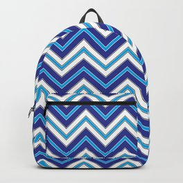Chevron Pattern | Blue Black White Backpack