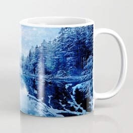 Blue Winter Wonderland : Forest Mirror Lake Coffee Mug