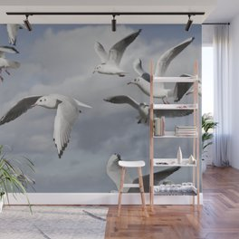 Flying Seagulls Wall Mural