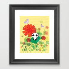 panda and flowers Framed Art Print