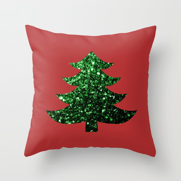Sparkly Christmas tree green sparkles on red throw pillow by PLdesign