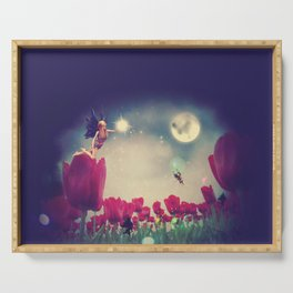 Dream fairy in fantasy land with bright red tulips at night time Serving Tray