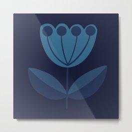 Retro Midcentury Modern Flowers Blue Metal Print