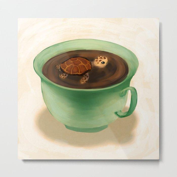 Tea Turtle Metal Print