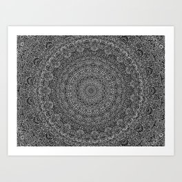 The Most Detailed Intricate Mandala (Black) Maze Zentangle Hand Drawn Popular Trending Art Print