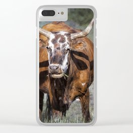 Pretty Female Cow with Horns Clear iPhone Case