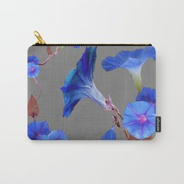 Grey Color Blue Morning Glory Art Design Pattern Carry-All Pouch