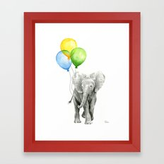 Elephant Watercolor Baby Animal with Balloons - Blue Yellow Green Framed Art Print