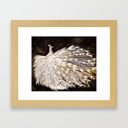 White Peacock Oil Painting Framed Art Print