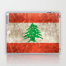Vintage Aged and Scratched Lebanese Flag Laptop & iPad Skin